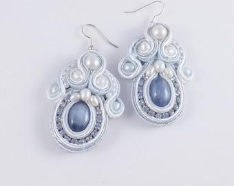 Handmade kyanite, pearl and cupchain soutache earrings