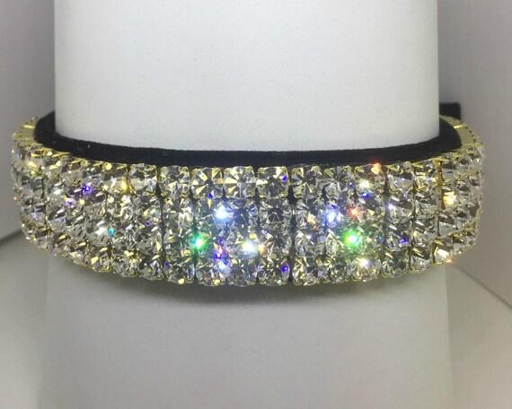 Sugarlicious Pets ™  ~Opulent Diamonds & Black Velvet ~ Crystal Diamante Rhinestone Dog Pet Collar WIDE with LARGE Stones USA