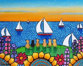 Siamese Cats and Tuxedo cat ocean sailboats ,  Shelagh Duffett