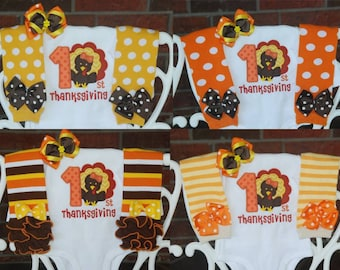 Baby Girl Thanksgiving Outfit/ First Thanksgiving outfit for baby girl/ Thanksgiving turkey outfit/Baby Girl My 1st Thanksgiving outfit