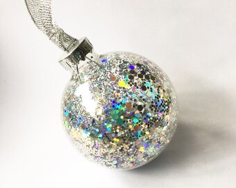 Silver Glitter Filled Glass Christmas Bauble 6cm