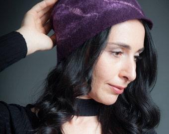 Amethyst Felt Hat (Dark Purple Felt Cloche, Merino wool, handmade, made to order)