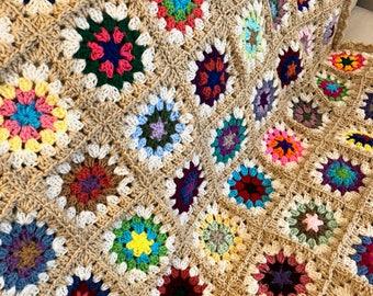 Granny Square Crochet Blanket - Beige Edges (Ready to Ship)