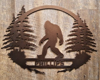 SASQUATCH, BIGFOOT SIGN, Big foot, Yeti, Custom wedding gift, Fathers day gift ideas, Metal wall art, Custom last name sign, Rustic decor