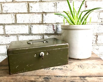 Vintage Rustic Cash/Money Box | Green Metal Strong Box | Distressed Metal Box | Stash Box | Heavy Duty Box | Cosmetic Box | Utility Box