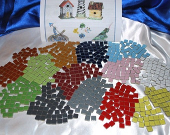 50 pack * of 3/8 inch small Square (1 sided) Glossy CERAMIC Mosaic Tiles. PLUS Mosaic Instructions. YOU Choose from 14 colors!