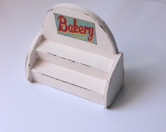 Handmade Bakery patisserie country shabby chic wood shelf empty display-miniature dollhouse in 12th scale-furniture