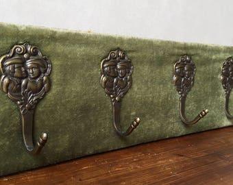 SALE Vintage Coat Rack Olive Green Velvet Brass Hooks 30's Home Decor