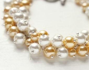 Light Yellow Wedding Pearl Cluster Bracelet, Bridesmaid Jewelry, Fall Autumn and Summer Weddings - My Little Sunshine