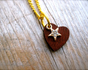 Necklace. Tiny Star and Heart Charm Necklace. Rhinestone Necklace. Gold Brown Rustic Wooden Heart  Star Charm. Vintage Gold Chain Necklace.