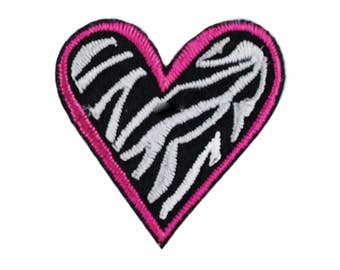 Zebra Heart Iron On Applique, Love Iron On Patch, Heart Patch, Love Applique, Heart Applique, Fun Patch, Embroidered Patch