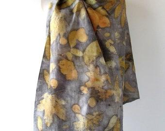 Women Silk scarf Grey beige scarf ecoprint plant print scarf blue silk scarf Leaf pattern botanical print Eco dye silk scarf handpainted