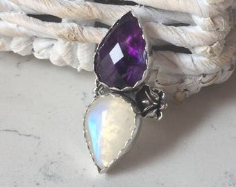 Beautiful Amethyst and Moonstone Lotus Ring, Adjustable size 6-11, Sterling Silver