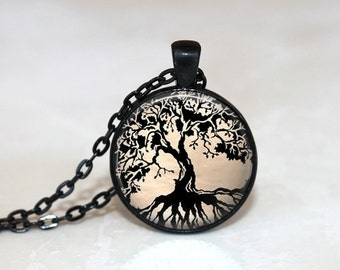 Glass Tile Necklace Tree Necklace Tree of Life Glass Tile Jewelry Tree Jewelry Black Necklace Glass Tile Pendant Black Jewelry