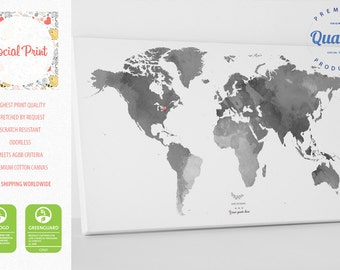 Grey map etsy personal grey world map with your tags canvas print free shipping wall art gumiabroncs Image collections