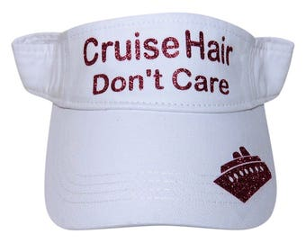 """NEW! Fuchsia Glitter """"Cruise Hair Don't Care"""" White Cotton Visor"""