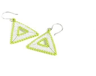 Seed Bead Earrings, Lime Green Earrings, Triangle Earrings, Geometric, Boho Earrings, Gift Idea, Made to Order