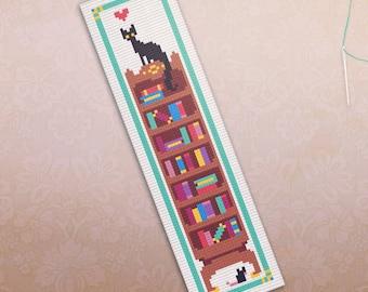 Cute Cross Stitch Bookmark • Modern Cat Cross Stitch Pattern •  Easy Counted Cross Stitch Book Mark PDF • Cat & Bookcase XStitch Pattern