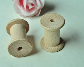 2pcs 45x34mm Large Wooden Spool Wood Bobbin Unfinished Natural Textile Mill Thread Ribbon Sewing Storage Beech Wood  MT373