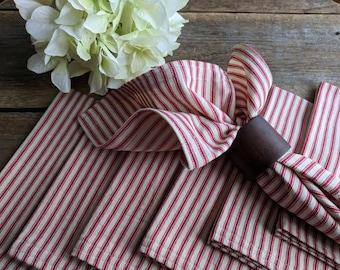 Red & White Napkins, Cloth Napkins, 4 Cloth Dinner Napkins, Ticking Napkins, Farmhouse Decor, Farmhouse Napkins, Farmhouse Linens