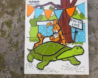 tortoise and hare puzzle,  the tortoise and the hare. vintage puzzle, antique toys,playskool puzzle, 1980's puzzle, playskool toys
