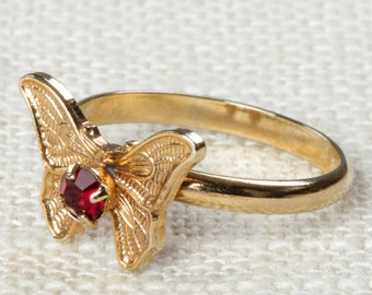 Vintage Butterfly Ring Dark Red Rhinestone Small Adjustable XS or Child's Size Vintage Ring Gold Butterfly Adjustable 7RI