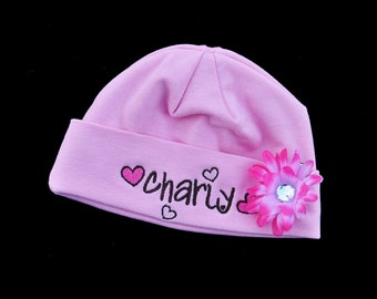 Personalized Baby Girl Heart Beanie with Flower