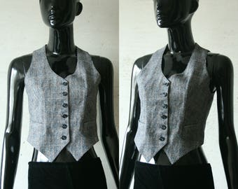 Vintage gray small button up women's vest Dark gray small lines print Sexy fitted waistcoat Made in France JANINE TIMBAUT Paris XXS