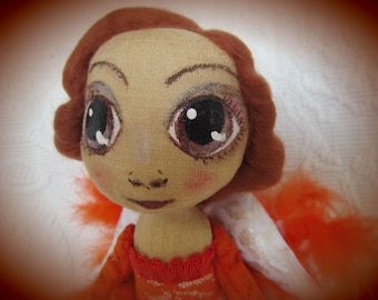 Vintage Angel, Interior Doll, OOAK, Art Fabric Doll,  Cloth Doll, Textile Soft Doll, Sculpture Doll, Collection Orange Doll, Red Hair Doll