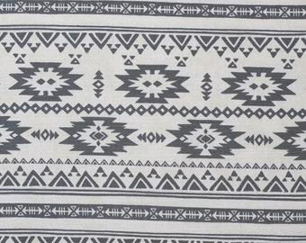 Japanese fabric - Kokka Trefle - gray and white cotton barkcloth fabric - 1/2 YD