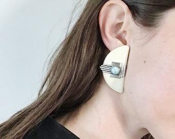 Art Deco Turqoise, Enamel and Sterling Silver Half Moon Earrings