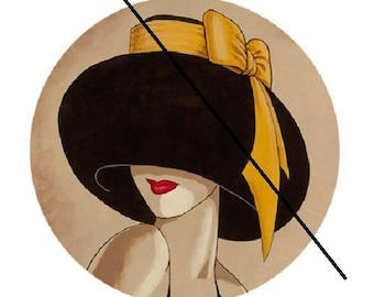 cabochon 20mm, Yellow Hat and bow