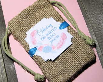 Burlap Wedding favor bags - Personalized - Boho - Rustic - Celebrating Big Day - Feather and flower wreath - Coffee Favor Bags - Set of 20