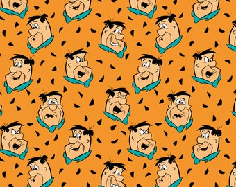 The Flintstones Fred in Orange - Camelot Fabrics - Cotton fabric - Choose your cut
