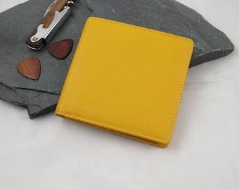 Yellow Leather Billfold Wallet, Yellow Fair Trade Wallet, Yellow Leather Bi-Fold Wallet, Yellow Leather Wallet, Zipped Yellow Leather Wallet