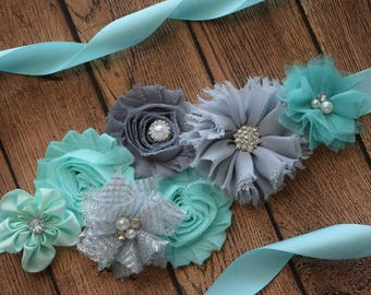 Aqua grey sash ,flower Belt, maternity sash, wedding sash, flower girl sash, maternity sash belt