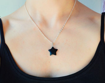 Black onyx necklace, Onyx necklace, Black onyx pendant, Black necklace, Gemstone necklace Star necklace Protection necklace Gemstone pendant