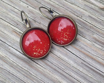 Earrings cabochon orange brick