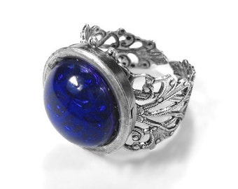 Steampunk Jewelry, Mens Ring SAPPHIRE Czech Glass CABOCHON, Sept Birthstone Ring, Silver Filigree Band, Fathers Day - Jewelry by edmdesigns
