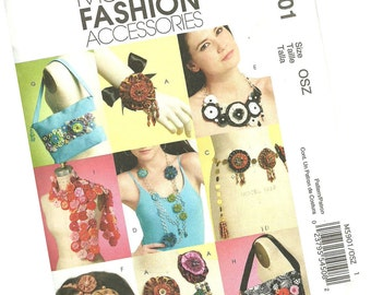 MCCALLS PATTERN M5901 fashion accessories, necklaces, hair accessories, scarves,  purses, handbags, one size fits all, new and uncut