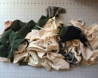 Felted cashmere cutter scraps Grey Black Tan Cream #1 - 2 gallon bag