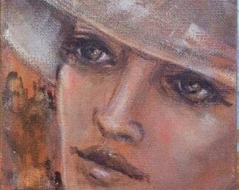 """Romantic lady portrait painting original art 7 x 5"""""""