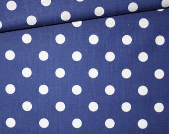 White polka dots on Navy Blue, 100% cotton fabric printed 50 x 160 cm