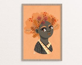 Poster autumn illustration, illustrated print, kids room poster, nursery wall art, season poster for kids, print for kid, poster for nursery