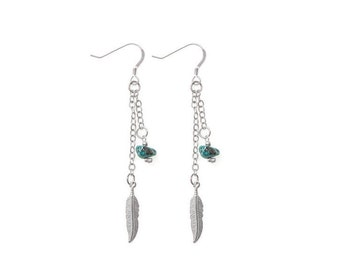 Dreamcatcher Earrings with Turquoise and silver feather charm- turquoise and feather dangle earrings- lightweight bohemian earrings
