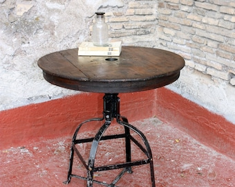 Industrial table Top made with Old wooden Reel | Old wooden Table made by an ancient Reel