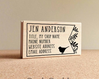 Personalized Bird and Botanicals Business Card Stamp, Business Card Rubber Stamp