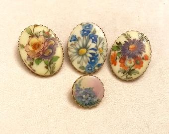 Vintage Flower Porcelain Cameo Lot Floral Cameo Lot