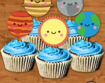 Solar System Cupcake Toppers INSTANT download, Kawaii Solar System