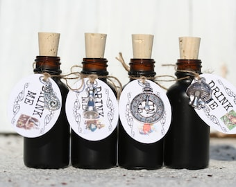 10 Black Glass Drink Me Favors Alice in Wonderland Drink Me Bottles Drink Me Tags For Alice In Wonderland Party Tea Party Favors